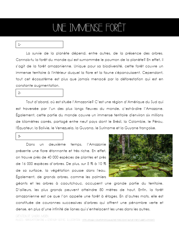 Compréhension de lecture sur la forêt amazonienne (3e cycle primaire, 1er cycle secondaire)